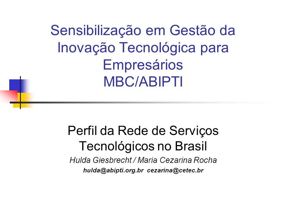 Sensibilização em Gestão da Inovação Tecnológica para Empresários MBC/ABIPTI Perfil da Rede de Serviços Tecnológicos no Brasil Hulda Giesbrecht / Maria Cezarina Rocha hulda@abipti.org.br cezarina@cetec.br