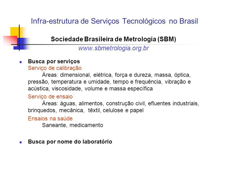 Infra-estrutura de Serviços Tecnológicos no Brasil Sociedade Brasileira de Metrologia (SBM) www.sbmetrologia.org.br Busca por serviços Serviço de cali