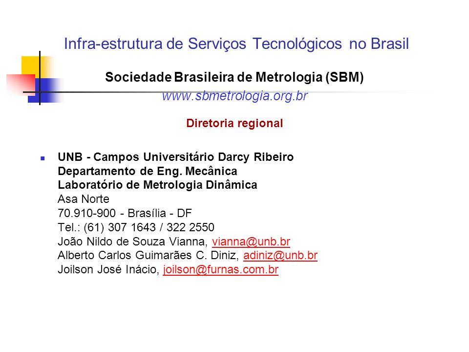 Infra-estrutura de Serviços Tecnológicos no Brasil Sociedade Brasileira de Metrologia (SBM) www.sbmetrologia.org.br Diretoria regional UNB - Campos Universitário Darcy Ribeiro Departamento de Eng.