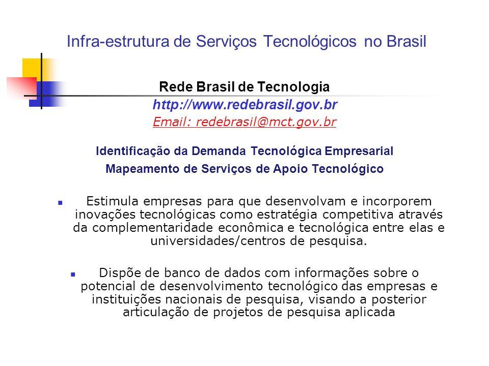 Infra-estrutura de Serviços Tecnológicos no Brasil Rede Brasil de Tecnologia http://www.redebrasil.gov.br Email: redebrasil@mct.gov.br Identificação d