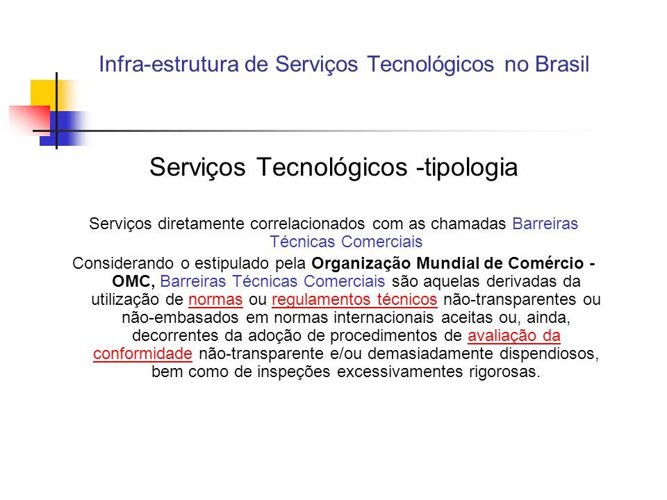 Infra-estrutura de Serviços Tecnológicos no Brasil Serviços Tecnológicos Reconhecendo a importância das barreiras técnicas para o fluxo de comércio exterior, assinou-se um Acordo sobre Barreiras Técnicas que foi incorporado pela Organização Mundial do Comércio (OMC) quando esta iniciou seus trabalhos em 1995.