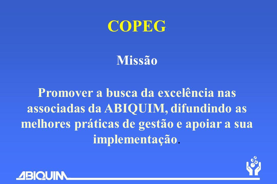 COPEG Missão Promover a busca da excelência nas associadas da ABIQUIM, difundindo as melhores práticas de gestão e apoiar a sua implementação.