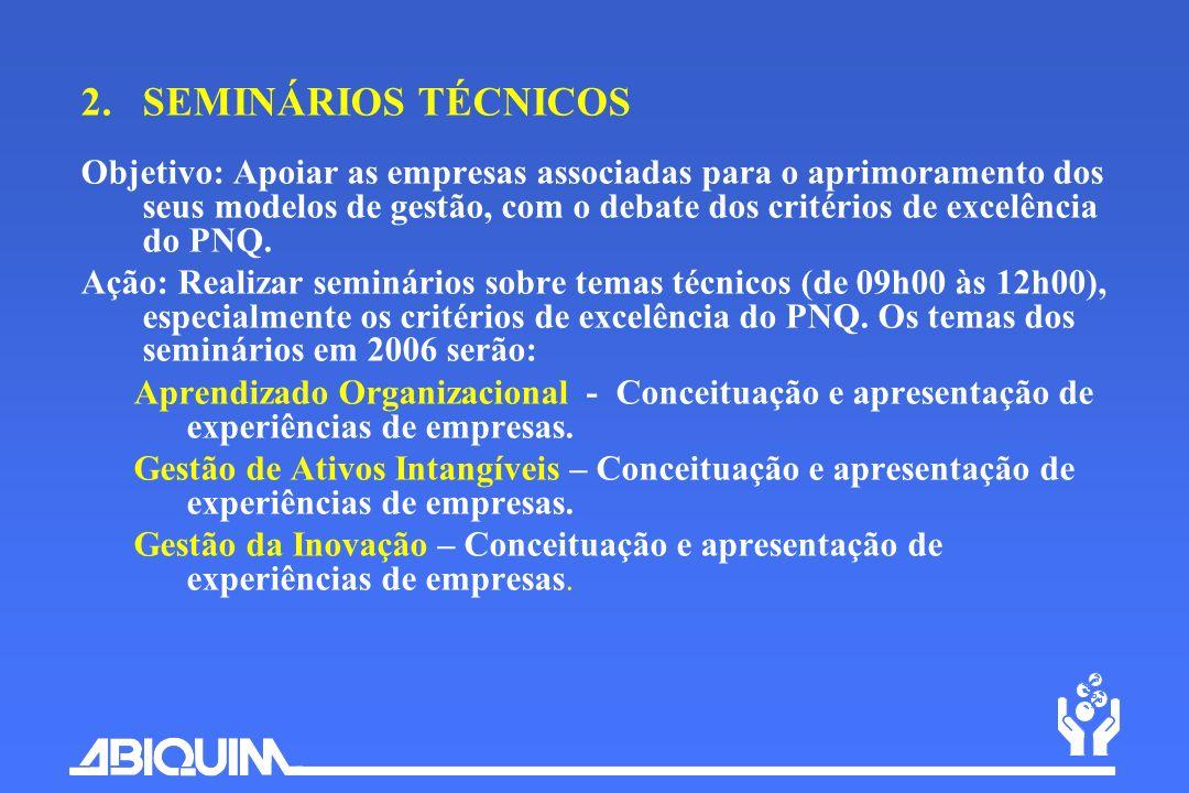 2.SEMINÁRIOS TÉCNICOS Objetivo: Apoiar as empresas associadas para o aprimoramento dos seus modelos de gestão, com o debate dos critérios de excelênci