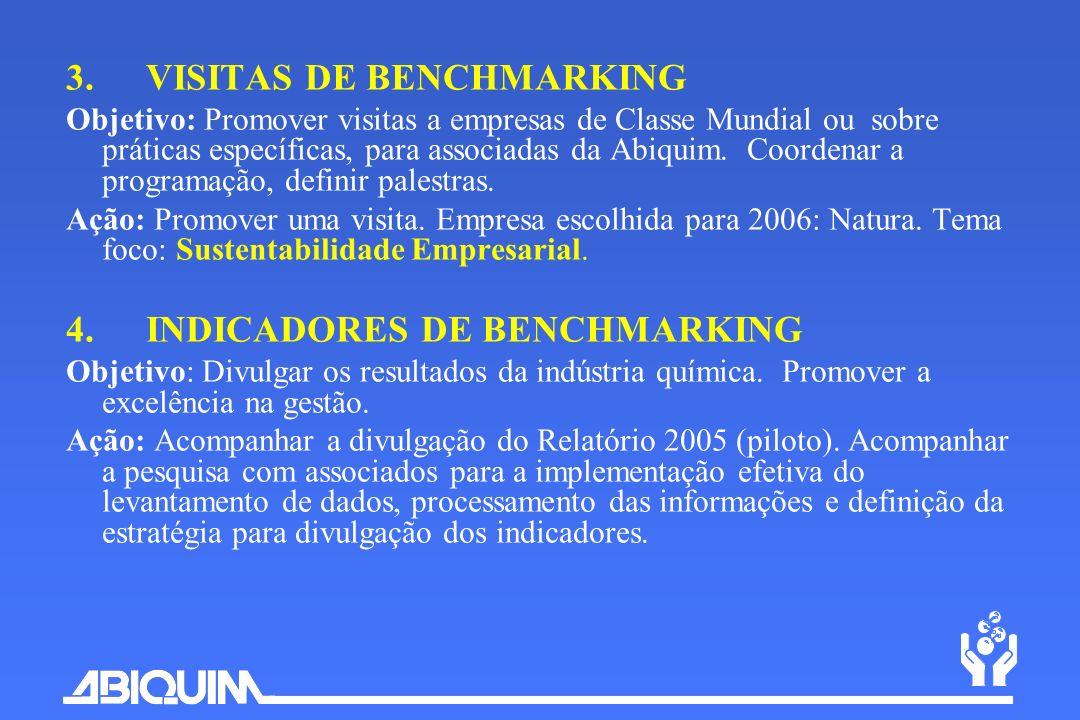 3. VISITAS DE BENCHMARKING Objetivo: Promover visitas a empresas de Classe Mundial ou sobre práticas específicas, para associadas da Abiquim. Coordena