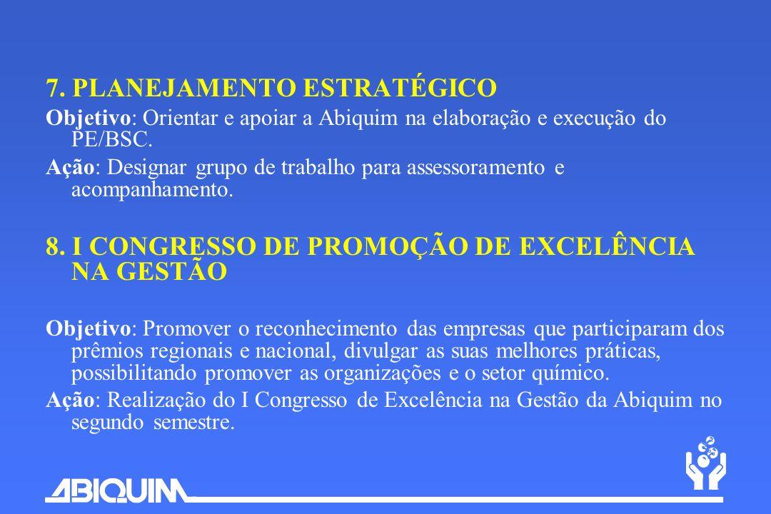 7. PLANEJAMENTO ESTRATÉGICO Objetivo: Orientar e apoiar a Abiquim na elaboração e execução do PE/BSC. Ação: Designar grupo de trabalho para assessoram