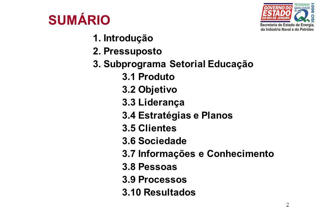 2 SUMÁRIO 1. Introdução 2. Pressuposto 3. Subprograma Setorial Educação 3.1 Produto 3.2 Objetivo 3.3 Liderança 3.4 Estratégias e Planos 3.5 Clientes 3