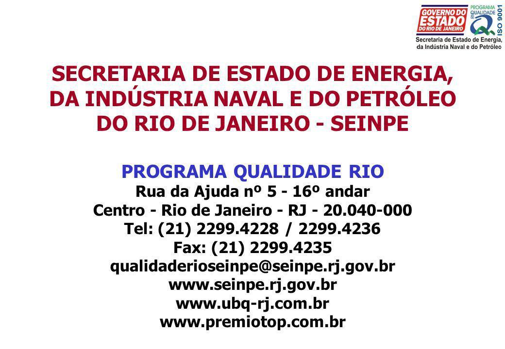 SECRETARIA DE ESTADO DE ENERGIA, DA INDÚSTRIA NAVAL E DO PETRÓLEO DO RIO DE JANEIRO - SEINPE PROGRAMA QUALIDADE RIO Rua da Ajuda nº 5 - 16º andar Cent