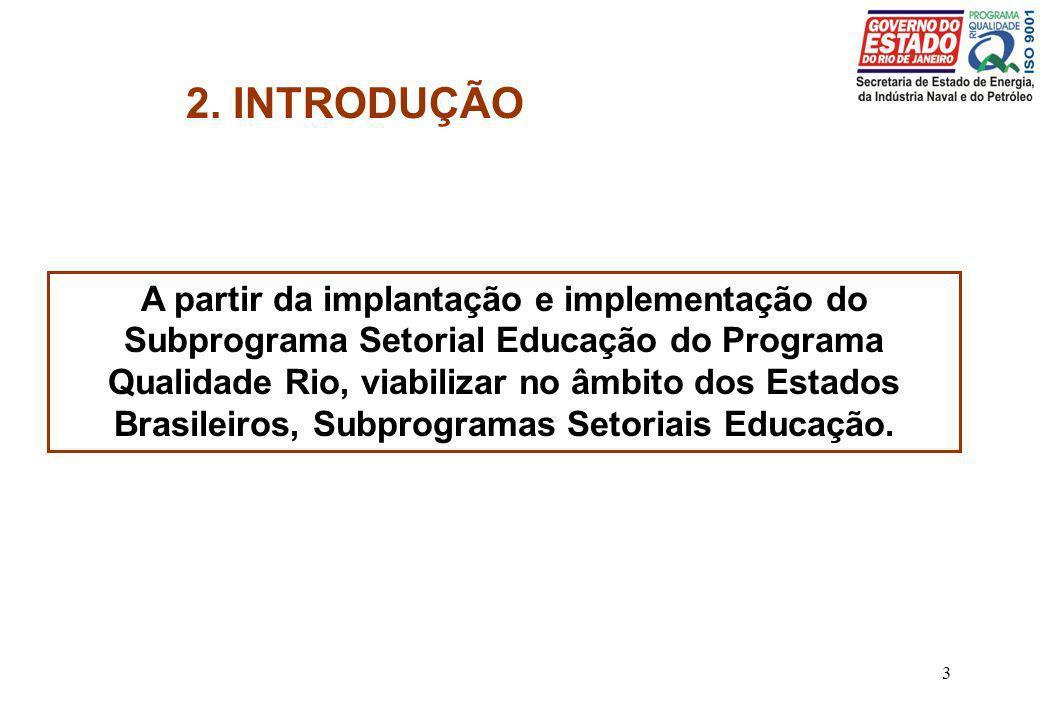 3 2. INTRODUÇÃO A partir da implantação e implementação do Subprograma Setorial Educação do Programa Qualidade Rio, viabilizar no âmbito dos Estados B