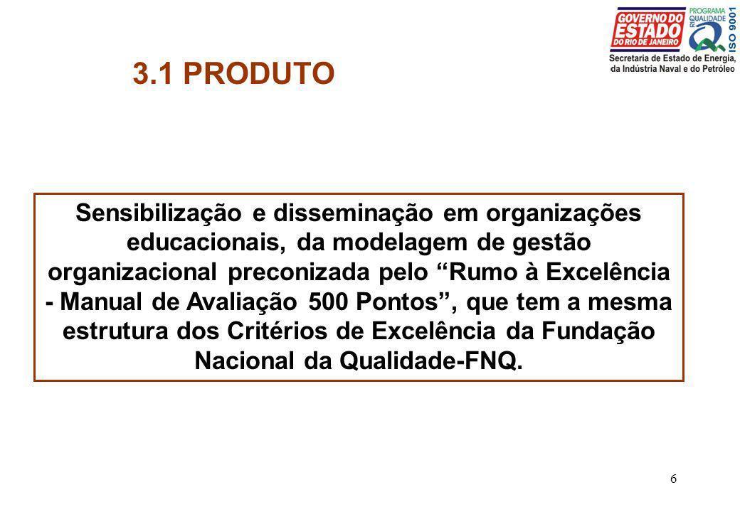 6 3.1 PRODUTO Sensibilização e disseminação em organizações educacionais, da modelagem de gestão organizacional preconizada pelo Rumo à Excelência - M