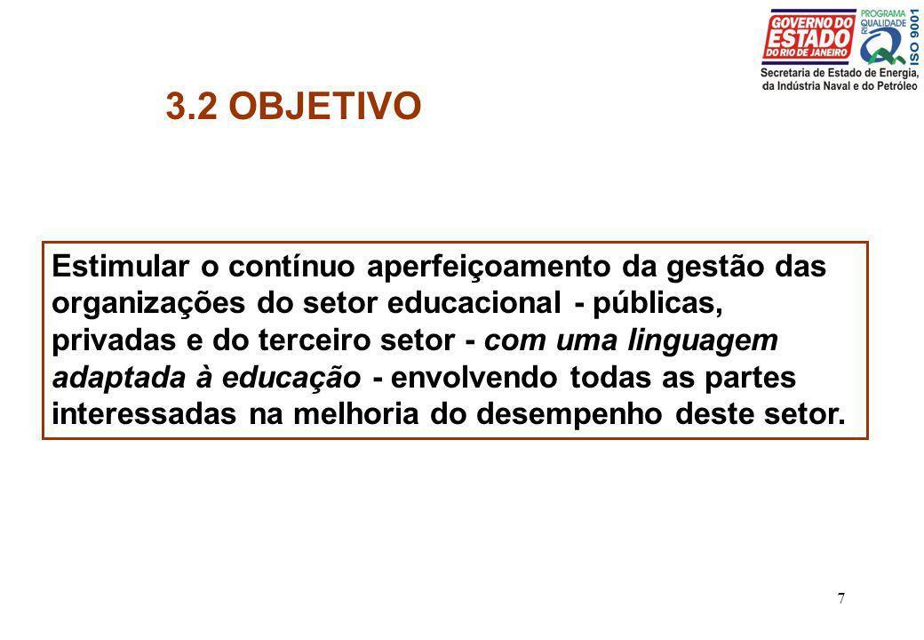 7 3.2 OBJETIVO Estimular o contínuo aperfeiçoamento da gestão das organizações do setor educacional - públicas, privadas e do terceiro setor - com uma