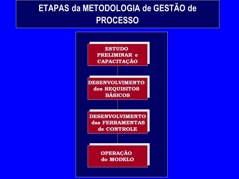 ETAPAS da METODOLOGIA de GESTÃO de PROCESSO ESTUDO PRELIMINAR e CAPACITAÇÃO ESTUDO PRELIMINAR e CAPACITAÇÃO OPERAÇÃO do MODELO OPERAÇÃO do MODELO DESENVOLVIMENTO das FERRAMENTAS de CONTROLE DESENVOLVIMENTO das FERRAMENTAS de CONTROLE DESENVOLVIMENTO dos REQUISITOS BÁSICOS DESENVOLVIMENTO dos REQUISITOS BÁSICOS