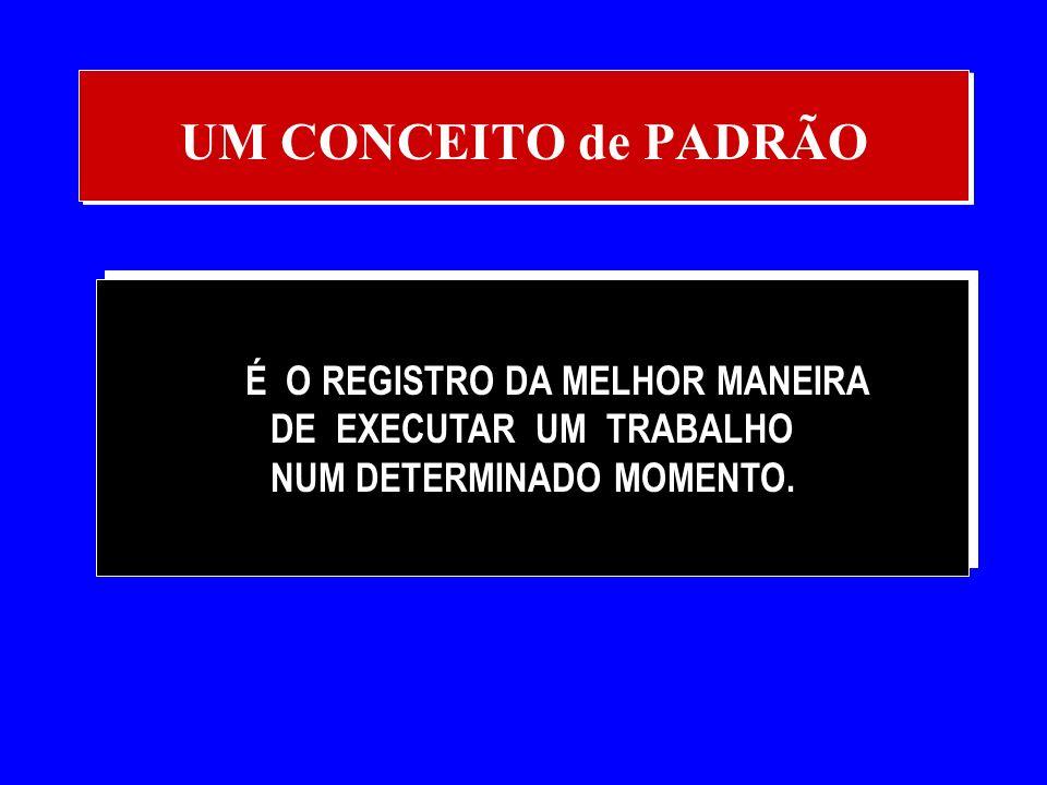 UM CONCEITO de PADRÃO É O REGISTRO DA MELHOR MANEIRA DE EXECUTAR UM TRABALHO NUM DETERMINADO MOMENTO.