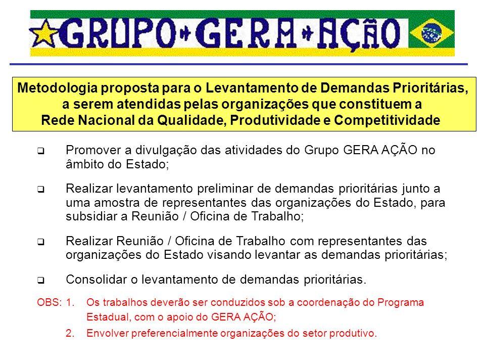 Promover a divulgação das atividades do Grupo GERA AÇÃO no âmbito do Estado; Realizar levantamento preliminar de demandas prioritárias junto a uma amo