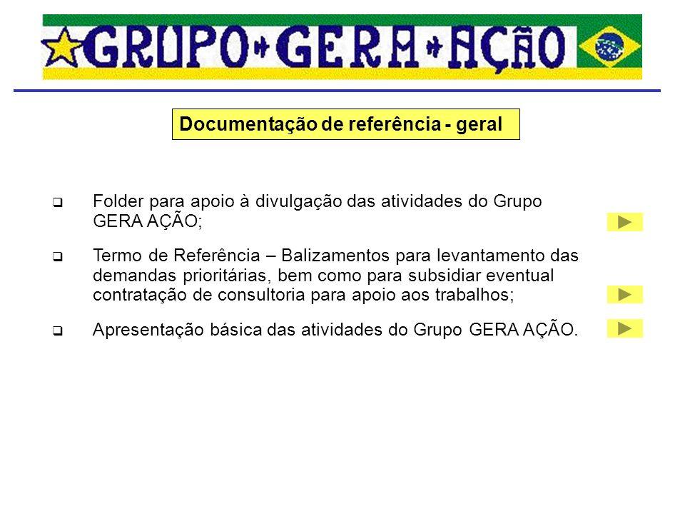 Folder para apoio à divulgação das atividades do Grupo GERA AÇÃO; Termo de Referência – Balizamentos para levantamento das demandas prioritárias, bem
