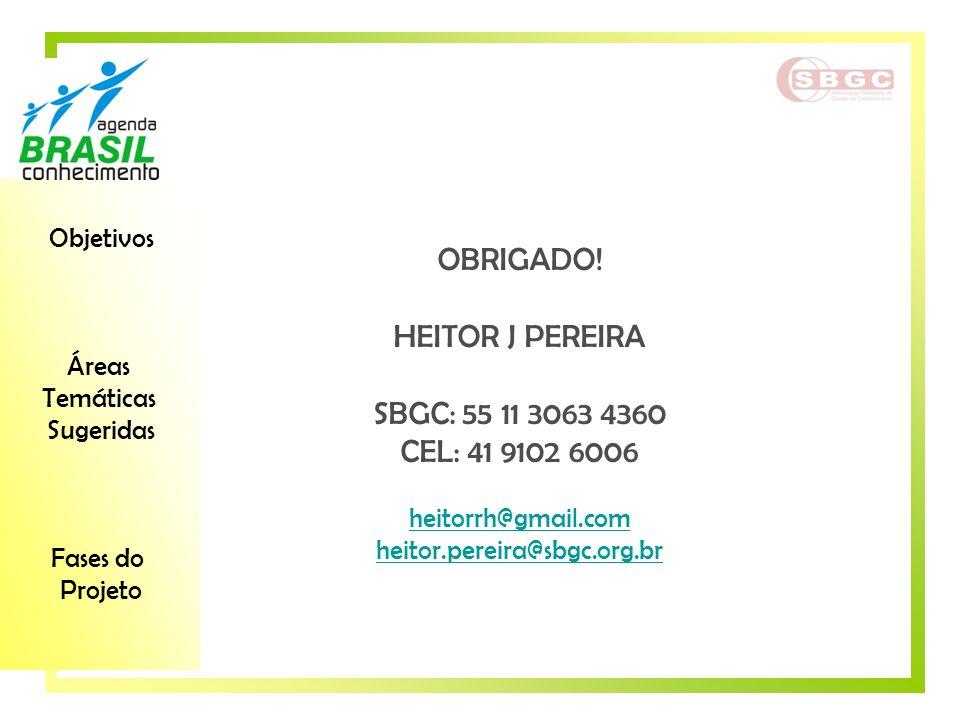 Objetivos Áreas Temáticas Sugeridas Fases do Projeto OBRIGADO! HEITOR J PEREIRA SBGC: 55 11 3063 4360 CEL: 41 9102 6006 heitorrh@gmail.com heitor.pere