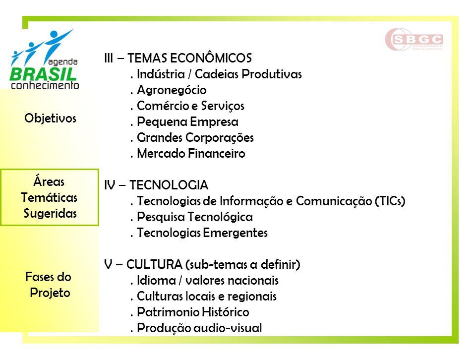 Objetivos Áreas Temáticas Sugeridas Fases do Projeto III – TEMAS ECONÔMICOS. Indústria / Cadeias Produtivas. Agronegócio. Comércio e Serviços. Pequena
