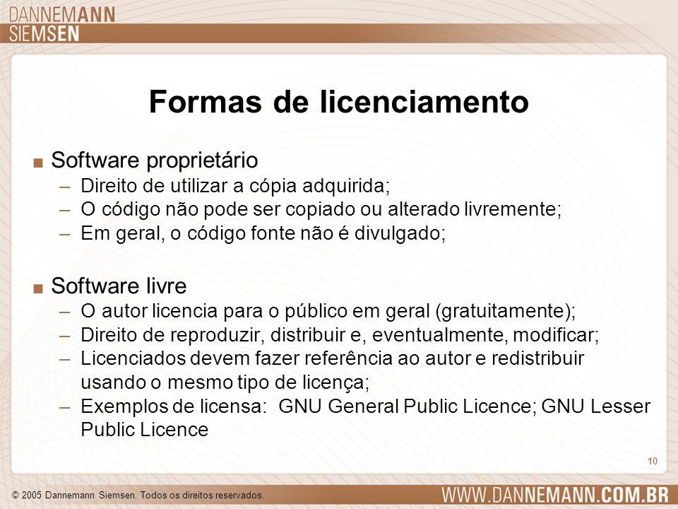 © 2005 Dannemann Siemsen. Todos os direitos reservados. 10 Formas de licenciamento. Software proprietário –Direito de utilizar a cópia adquirida; –O c