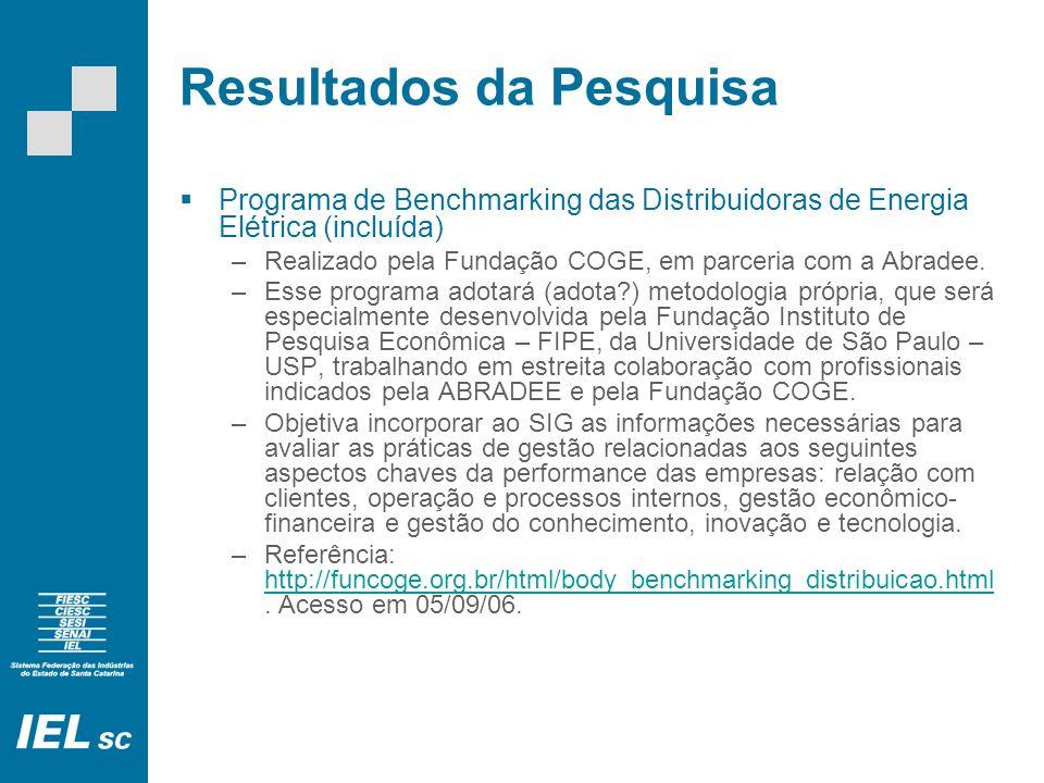 Resultados da Pesquisa Programa de Benchmarking das Distribuidoras de Energia Elétrica (incluída) –Realizado pela Fundação COGE, em parceria com a Abr