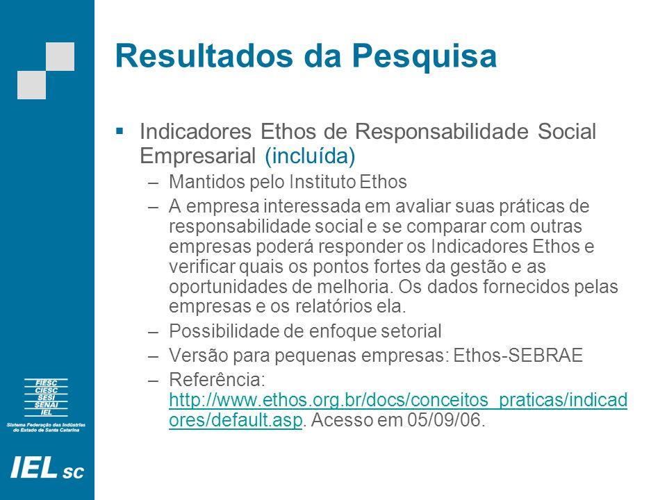 Resultados da Pesquisa Indicadores Ethos de Responsabilidade Social Empresarial (incluída) –Mantidos pelo Instituto Ethos –A empresa interessada em av