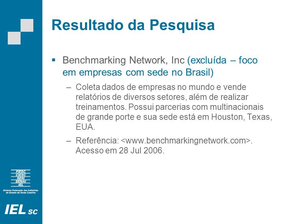 Resultado da Pesquisa Benchmarking Network, Inc (excluída – foco em empresas com sede no Brasil) –Coleta dados de empresas no mundo e vende relatórios