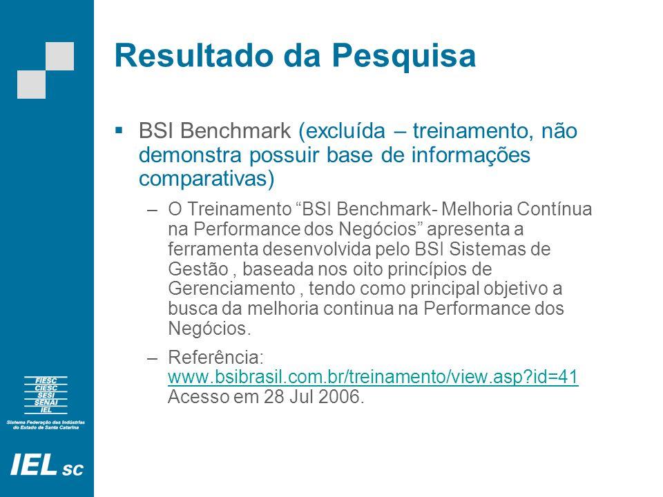 Resultado da Pesquisa BSI Benchmark (excluída – treinamento, não demonstra possuir base de informações comparativas) –O Treinamento BSI Benchmark- Melhoria Contínua na Performance dos Negócios apresenta a ferramenta desenvolvida pelo BSI Sistemas de Gestão, baseada nos oito princípios de Gerenciamento, tendo como principal objetivo a busca da melhoria continua na Performance dos Negócios.