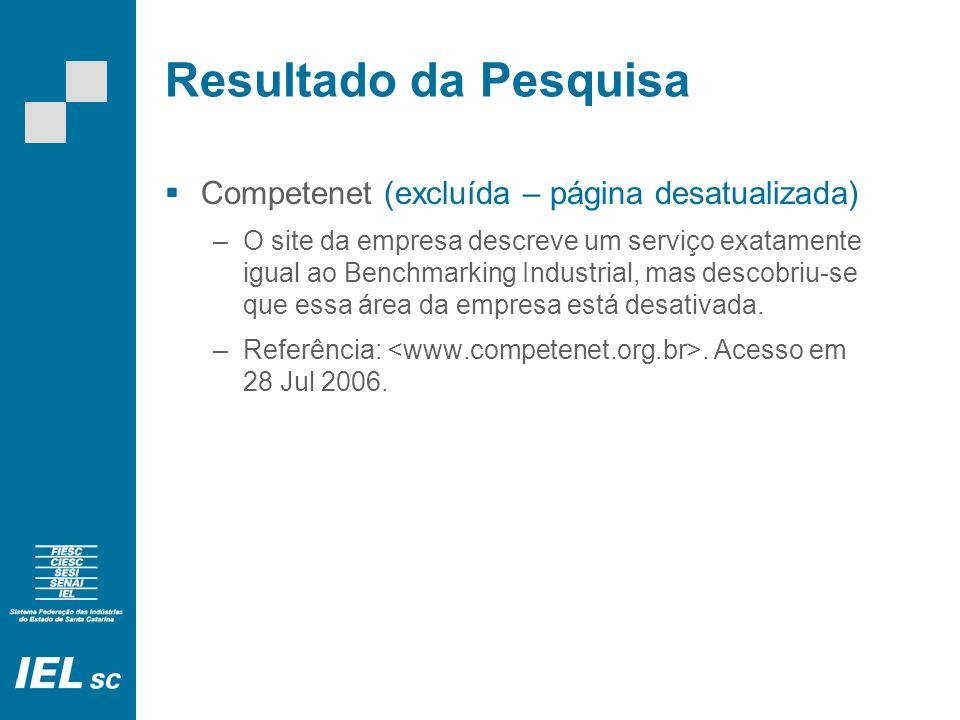 Resultado da Pesquisa Competenet (excluída – página desatualizada) –O site da empresa descreve um serviço exatamente igual ao Benchmarking Industrial, mas descobriu-se que essa área da empresa está desativada.