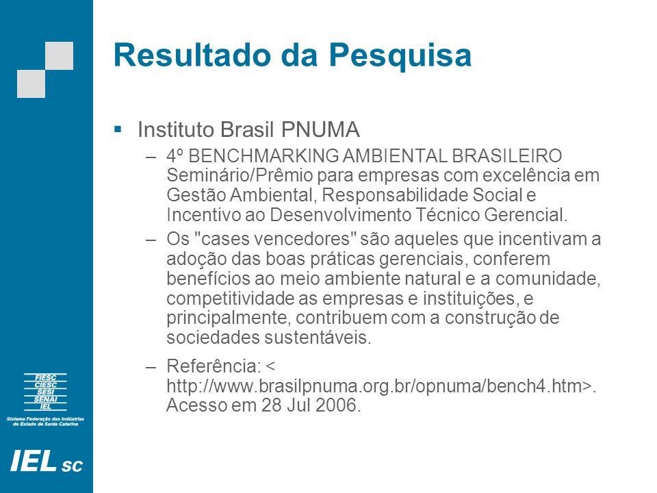 Resultado da Pesquisa Instituto Brasil PNUMA –4º BENCHMARKING AMBIENTAL BRASILEIRO Seminário/Prêmio para empresas com excelência em Gestão Ambiental,
