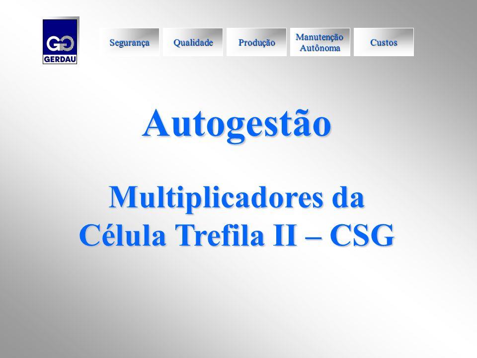 Autogestão Multiplicadores da Célula Trefila II – CSG Segurança Qualidade Produção Manutenção Autônoma Custos