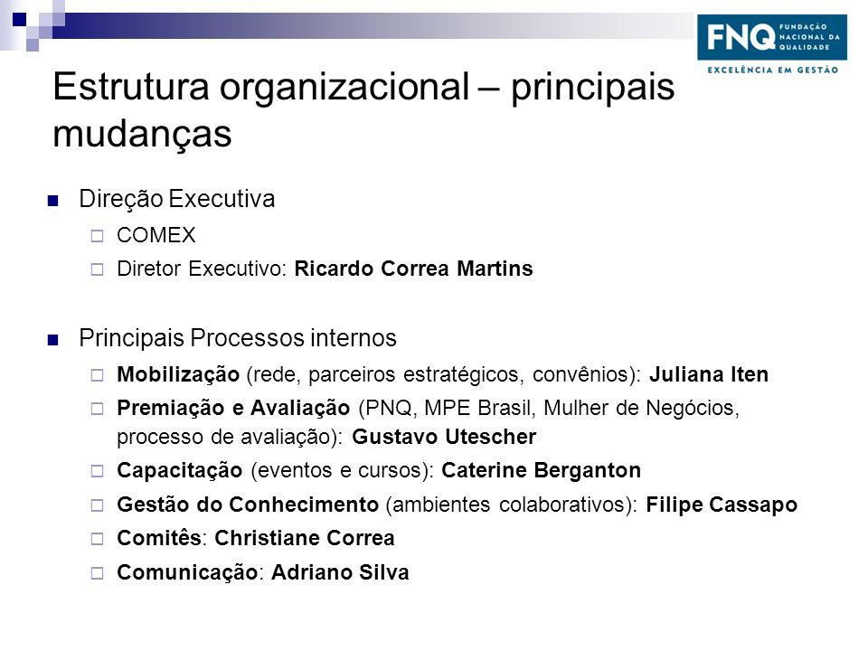 Estrutura organizacional – principais mudanças Direção Executiva COMEX Diretor Executivo: Ricardo Correa Martins Principais Processos internos Mobiliz