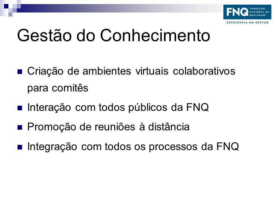 Gestão do Conhecimento Criação de ambientes virtuais colaborativos para comitês Interação com todos públicos da FNQ Promoção de reuniões à distância I