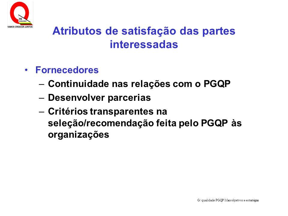 G:\qualidade\PGQP\Macrobjetivos e estratégias Fornecedores –Continuidade nas relações com o PGQP –Desenvolver parcerias –Critérios transparentes na se