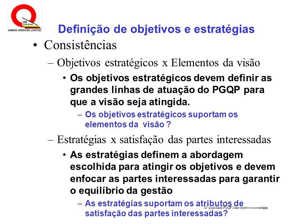 G:\qualidade\PGQP\Macrobjetivos e estratégias Definição de objetivos e estratégias Consistências –Objetivos estratégicos x Elementos da visão Os objet