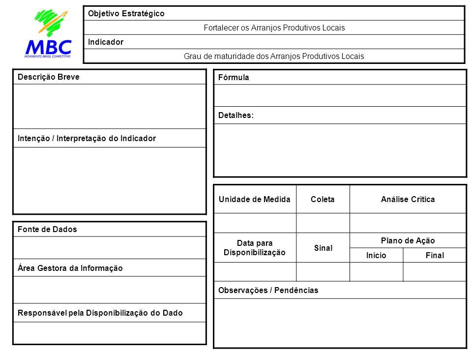 Unidade de MedidaColetaAnálise Crítica Data para Disponibilização Sinal Plano de Ação InícioFinal Observações / Pendências Fórmula Detalhes: Fonte de