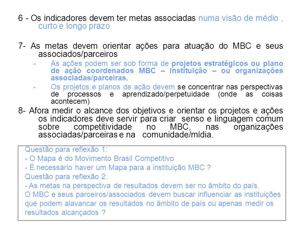 6 - Os indicadores devem ter metas associadas numa visão de médio, curto e longo prazo 7- As metas devem orientar ações para atuação do MBC e seus ass