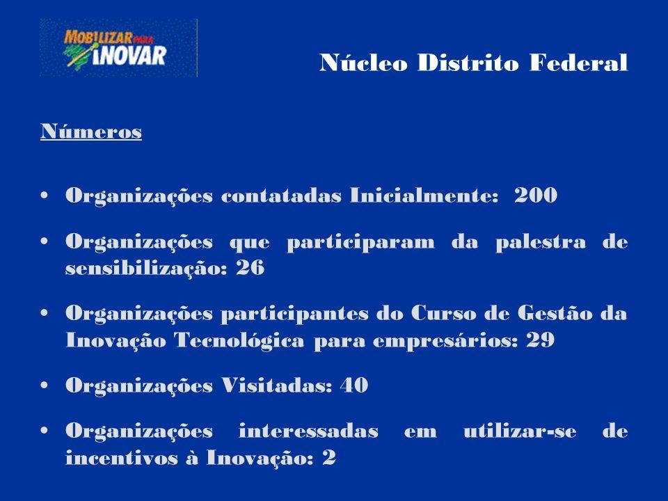Núcleo Distrito Federal Números Organizações contatadas Inicialmente: 200 Organizações que participaram da palestra de sensibilização: 26 Organizações