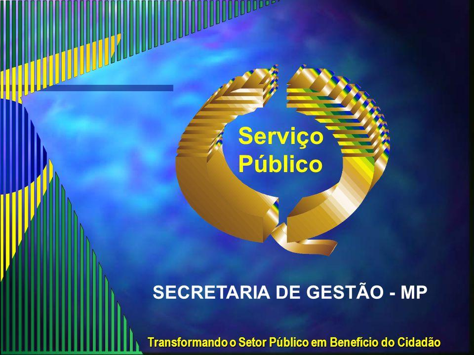Transformando o Setor Público em Benefício do Cidadão Serviço Público SECRETARIA DE GESTÃO - MP