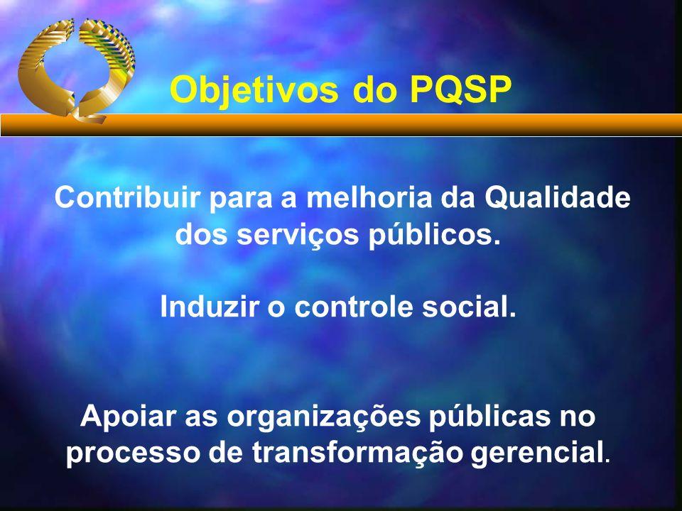 Contribuir para a melhoria da Qualidade dos serviços públicos. Induzir o controle social. Apoiar as organizações públicas no processo de transformação