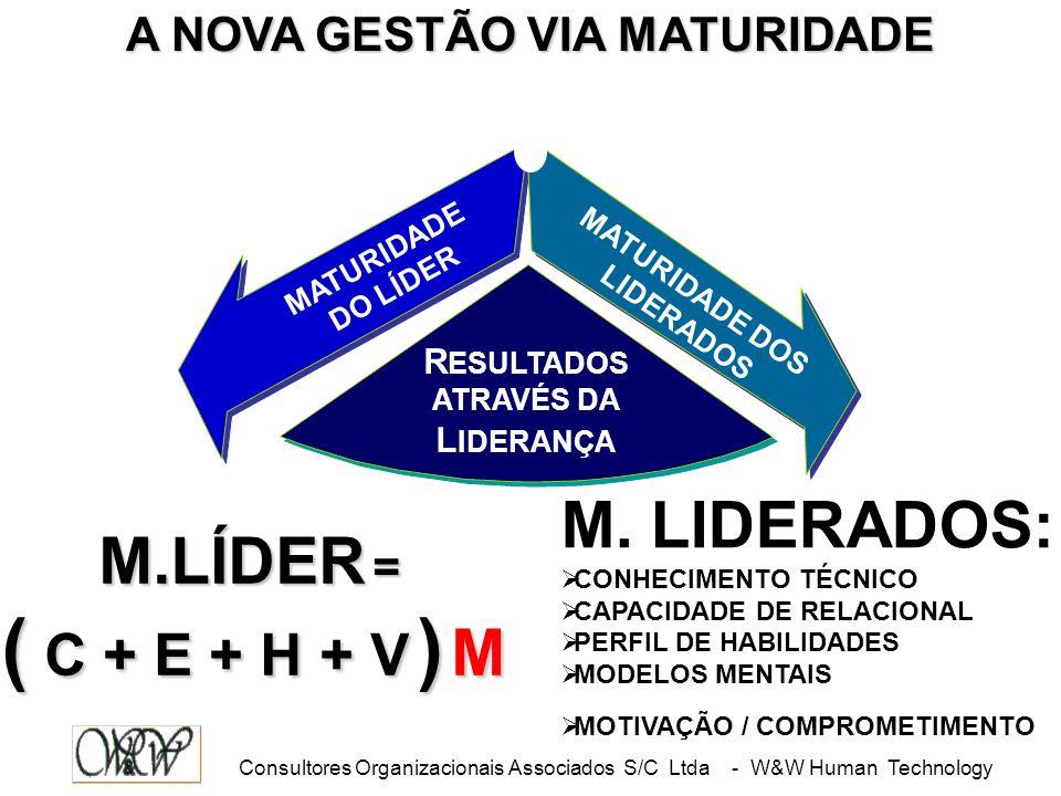 Consultores Organizacionais Associados S/C Ltda - W&W Human Technology MATURIDADE DO LÍDER MATURIDADE DOS LIDERADOS R ESULTADOS ATRAVÉS DA L IDERANÇA M.LÍDER = ( C + E + H + V ) M M.