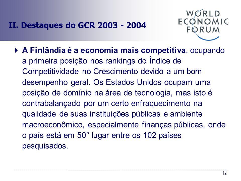 12 II. Destaques do GCR 2003 - 2004 A Finlândia é a economia mais competitiva, ocupando a primeira posição nos rankings do Índice de Competitividade n