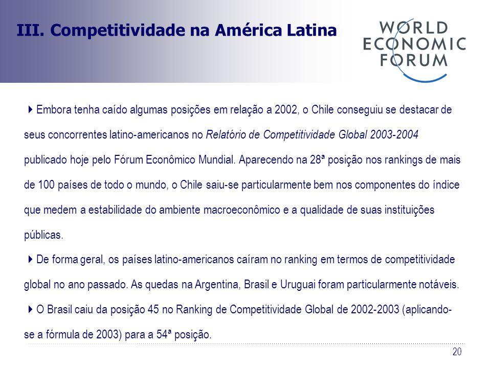 20 III. Competitividade na América Latina Embora tenha caído algumas posições em relação a 2002, o Chile conseguiu se destacar de seus concorrentes la
