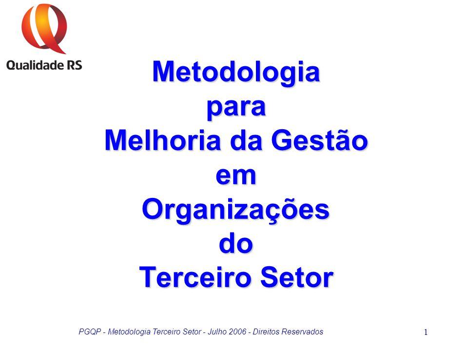 PGQP - Metodologia Terceiro Setor - Julho 2006 - Direitos Reservados 2 Terceiro Setor Constituído por organizações privadas sem fins lucrativos que geram bens, serviços públicos e privados.