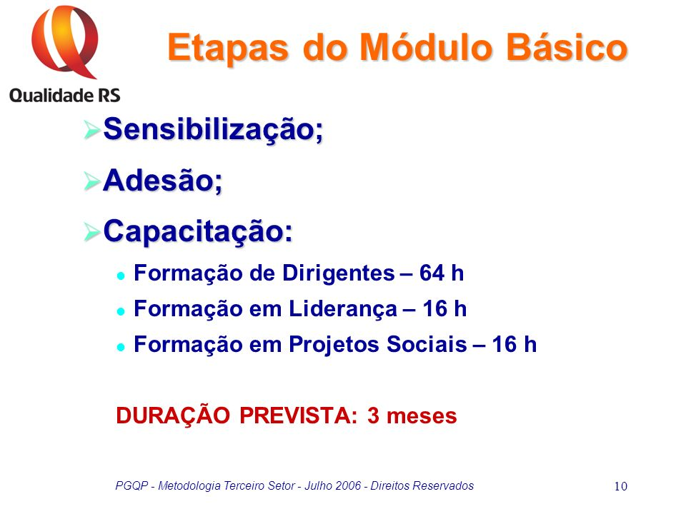 PGQP - Metodologia Terceiro Setor - Julho 2006 - Direitos Reservados 10 Sensibilização; Sensibilização; Adesão; Adesão; Capacitação: Capacitação: Form