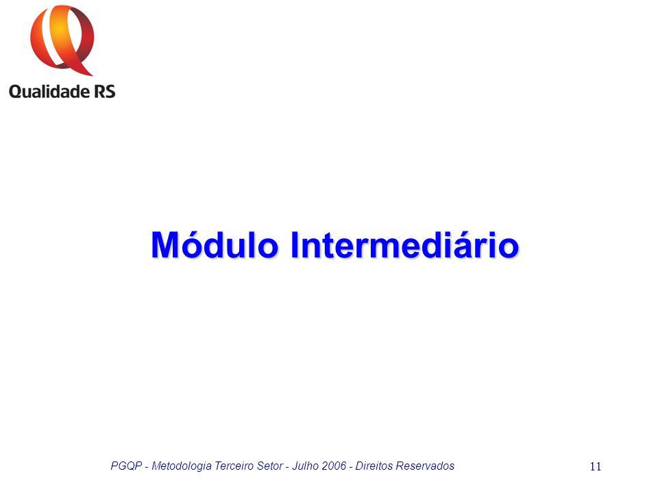 PGQP - Metodologia Terceiro Setor - Julho 2006 - Direitos Reservados 11 Módulo Intermediário