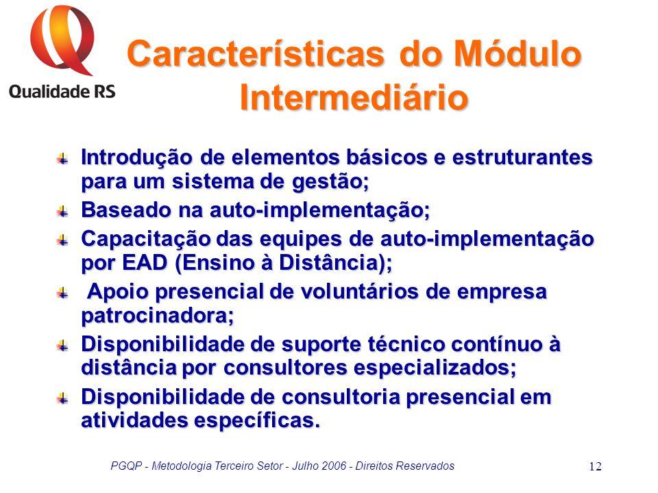 PGQP - Metodologia Terceiro Setor - Julho 2006 - Direitos Reservados 12 Características do Módulo Intermediário Introdução de elementos básicos e estr