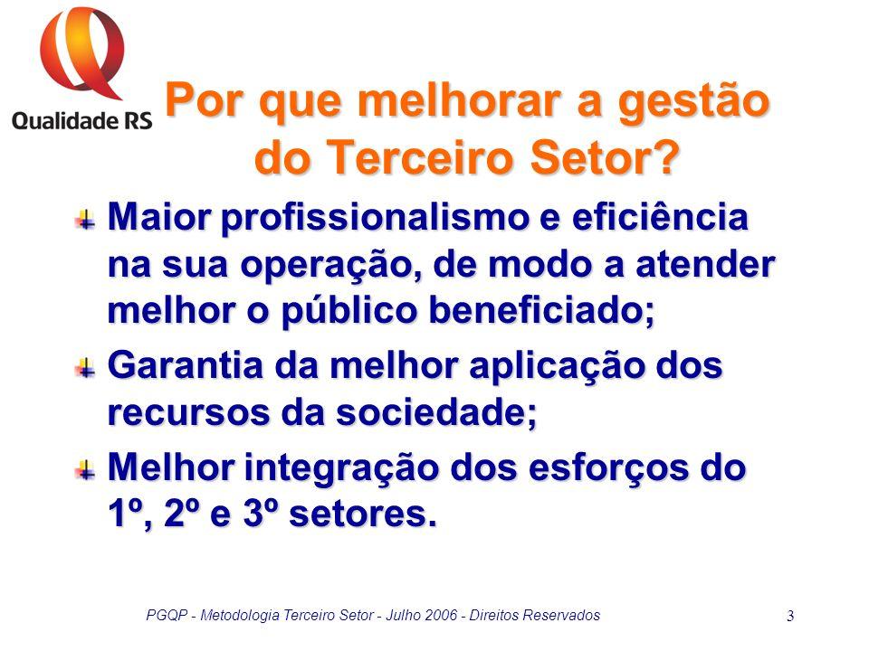 PGQP - Metodologia Terceiro Setor - Julho 2006 - Direitos Reservados 4 Elevado nível de regulamentação; Transitoriedade da alta direção; Falta de clareza na identificação do cliente e/ou usuário; Inexistência de processos típicos de comercialização (venda); Falta de qualificação gerencial da força de trabalho; Restrições orçamentárias.