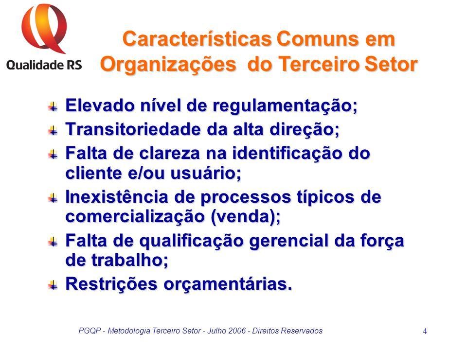 PGQP - Metodologia Terceiro Setor - Julho 2006 - Direitos Reservados 4 Elevado nível de regulamentação; Transitoriedade da alta direção; Falta de clar