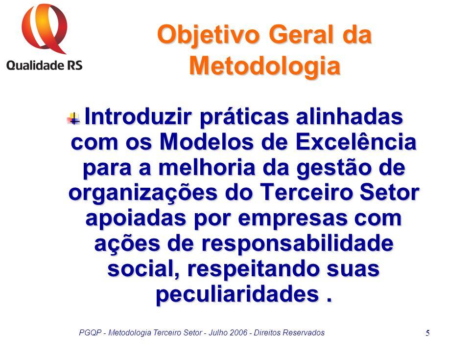 PGQP - Metodologia Terceiro Setor - Julho 2006 - Direitos Reservados 5 Objetivo Geral da Metodologia Introduzir práticas alinhadas com os Modelos de E