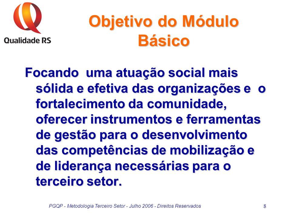 PGQP - Metodologia Terceiro Setor - Julho 2006 - Direitos Reservados 9 Preparação de dirigentes sociais para que adotem práticas mais efetivas de gestão e de aprendizagem organizacional.
