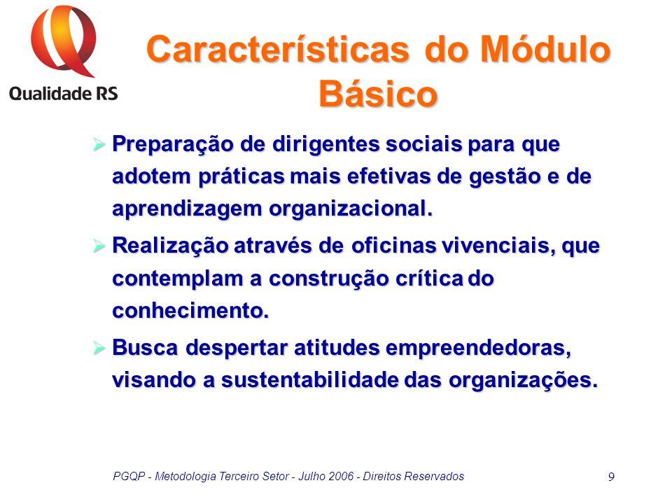 PGQP - Metodologia Terceiro Setor - Julho 2006 - Direitos Reservados 9 Preparação de dirigentes sociais para que adotem práticas mais efetivas de gest
