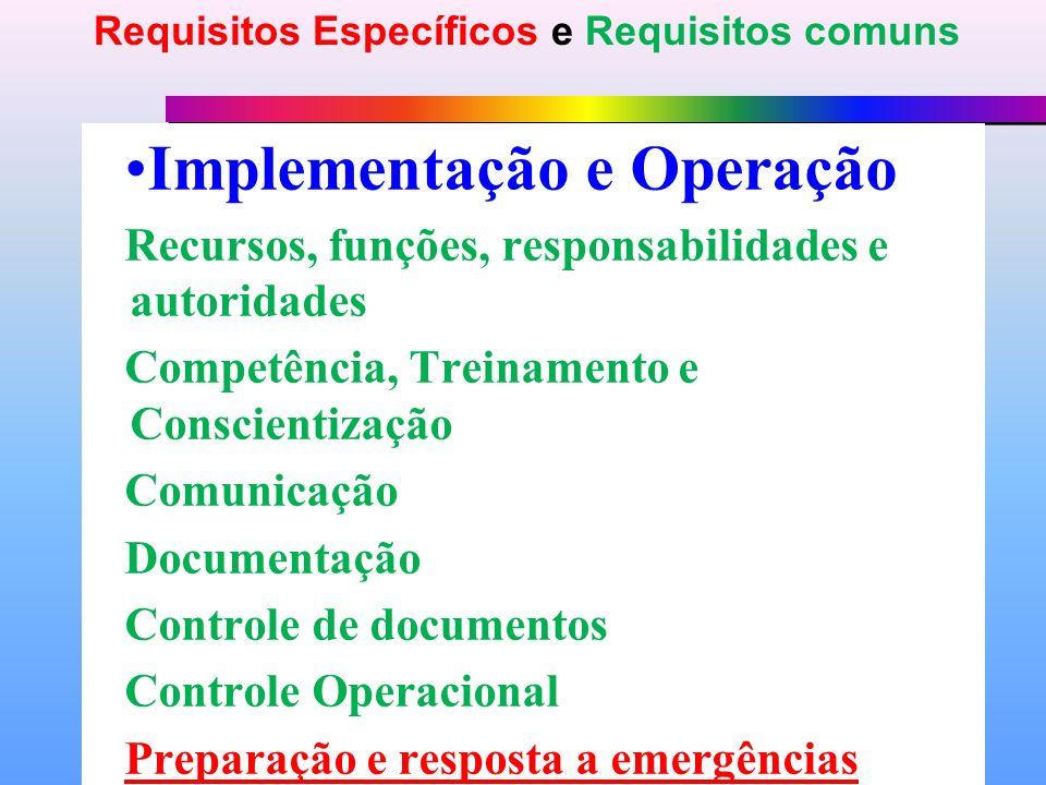 Implementação e Operação Recursos, funções, responsabilidades e autoridades Competência, Treinamento e Conscientização Comunicação Documentação Controle de documentos Controle Operacional Preparação e resposta a emergências Requisitos Específicos e Requisitos comuns